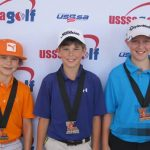 Boys 9-11 (L-R) Canon Clark, Lafayette; Bryce Sutterfield, Oakdale; Peyton Canter, St. Amant.