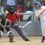 """MV USSSA Pride's Courtney Baeckel hits a triple in the bottom of the second inning against the Colorado Cardinals during the USSSA state softball tournament Saturday, July 12, 2014, at the Barnes Softball Complex. (Photo by Steve Stoner/Loveland Reporter-Herald)"""